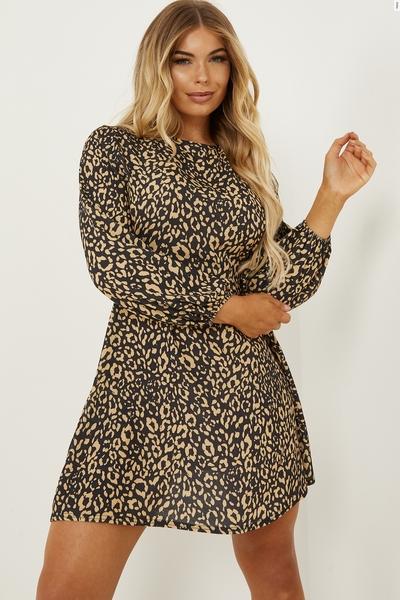 Petite Tan Leopard Print Skater Dress